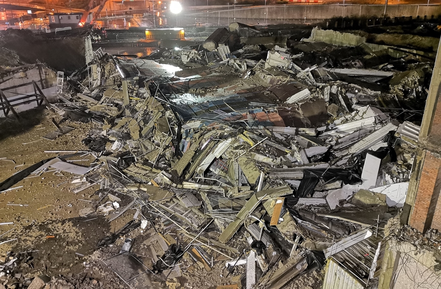 The remains of the old multi-storey car park following the demolition in Barnsley.