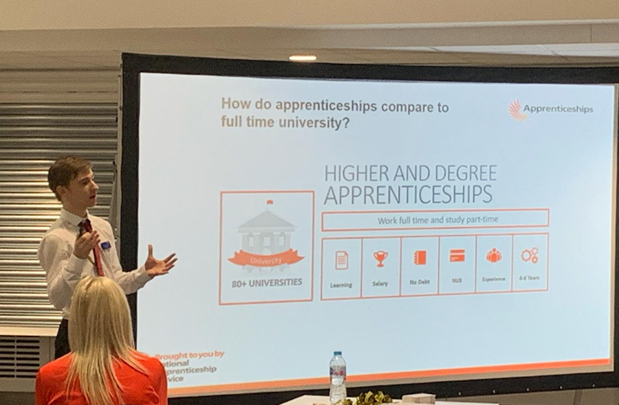 Trainee Business and Marketing Assistant Bradley Longford discussed apprenticeships at New Doncaster College.