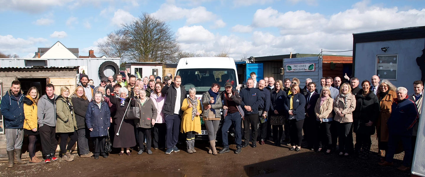 Group photo of all those involved raising money for the minibus