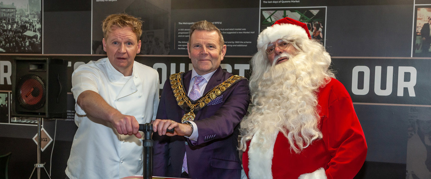 Left to right: Lookalike Gordon Ramsey, The Mayor and Father Christmas