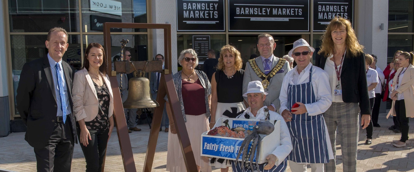 Members of Barnsley Council with the historic Barnsley Market Bell