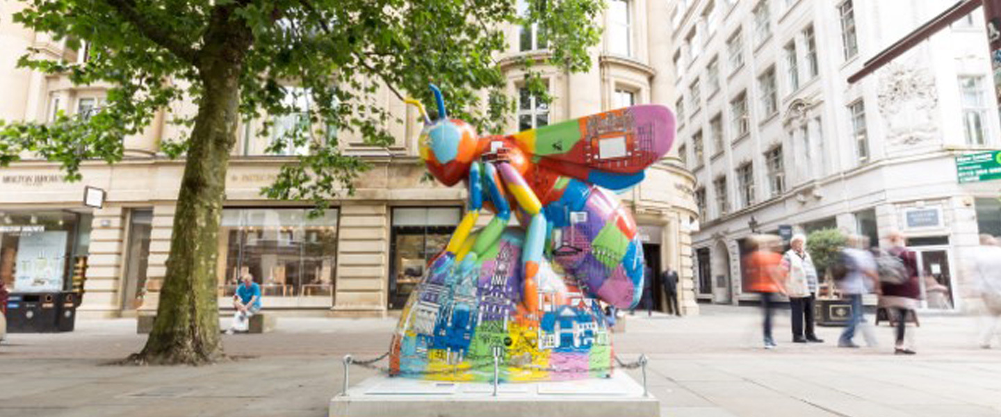 The Henry Boot sponsored Bee, entitled 'Colourful Manchester Skyline Bee'
