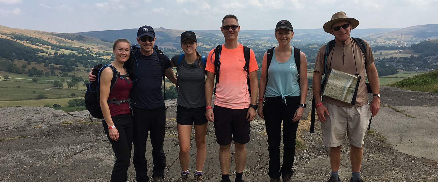 Steve Green (centre) with family and friends during the hike