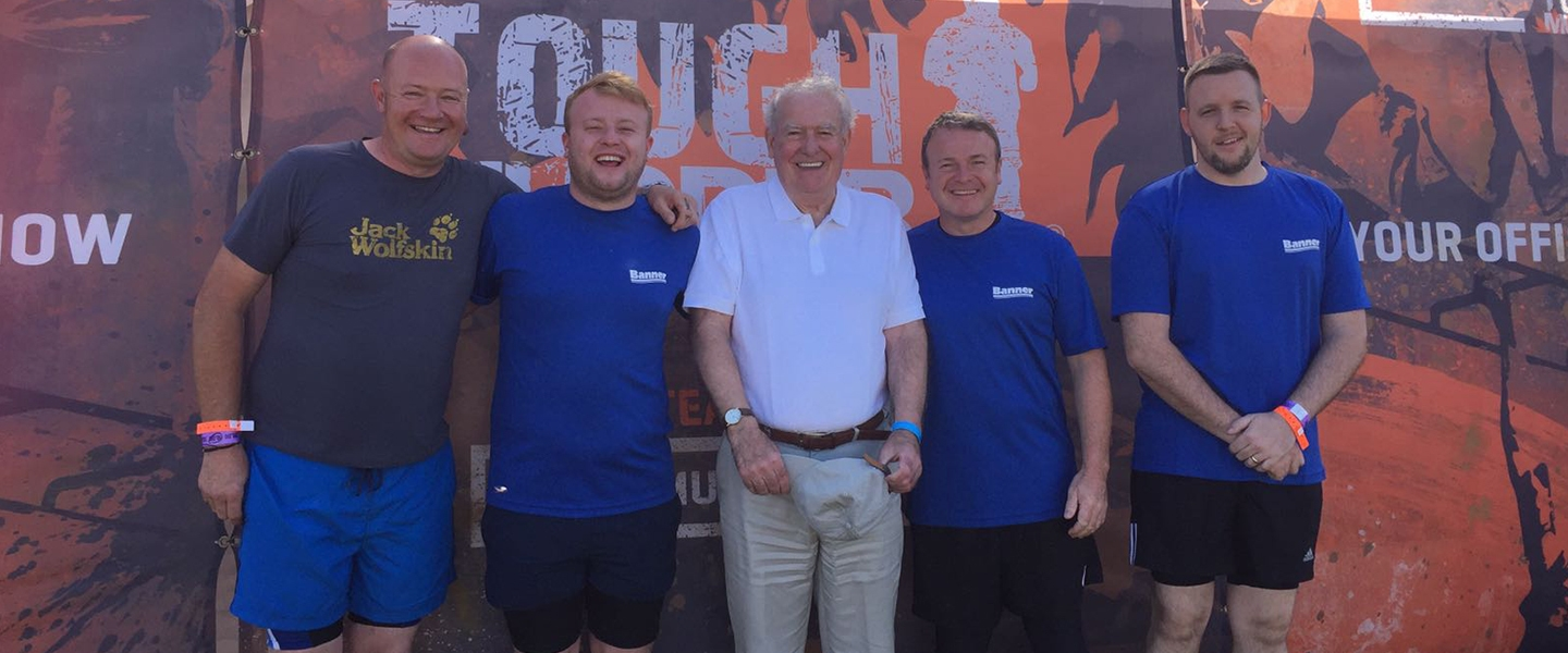 Employees from Banner Plant with Rob Hughes father before setting off. Left to right: Glenn Palmer, Bradley Hughes, Keith Hughes, Rob Hughes and Chris Winder