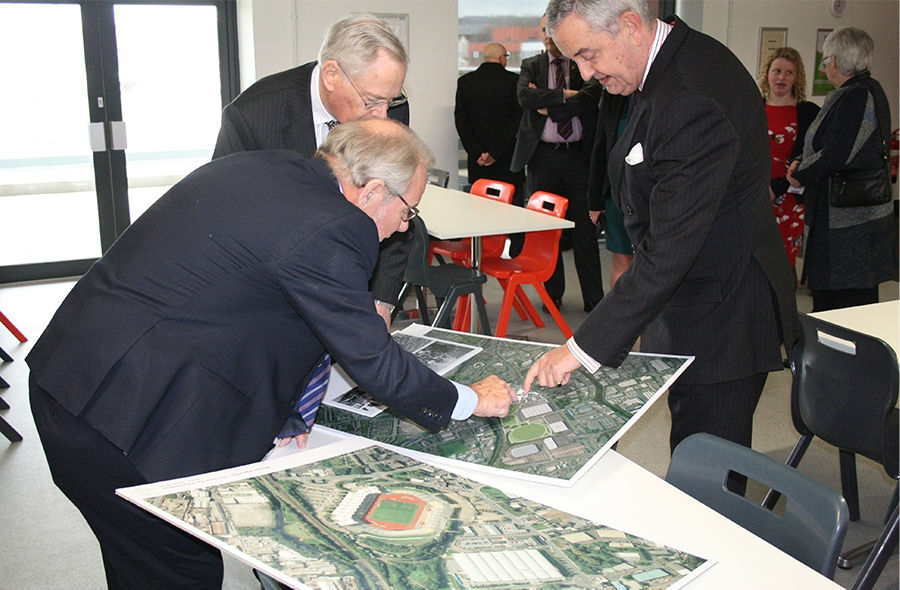 The Duke of Gloucester viewing plans of the Olympic Legacy Park