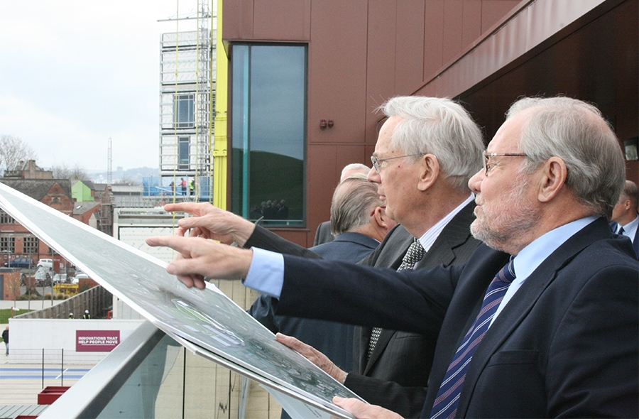 During his visit The Duke of Gloucester was informed about the plans to develop a new stadium at the OLP
