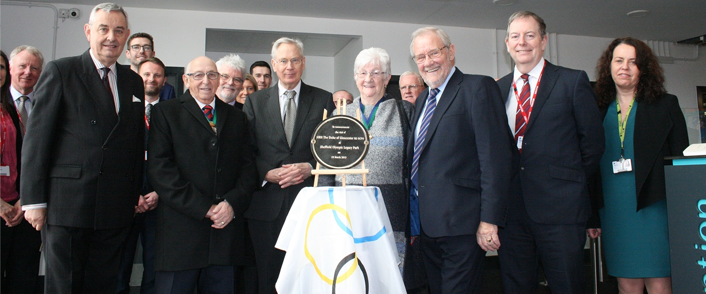 The Duke of Gloucester (centre) with other representatives and dignitaries including Simon Carr (right)