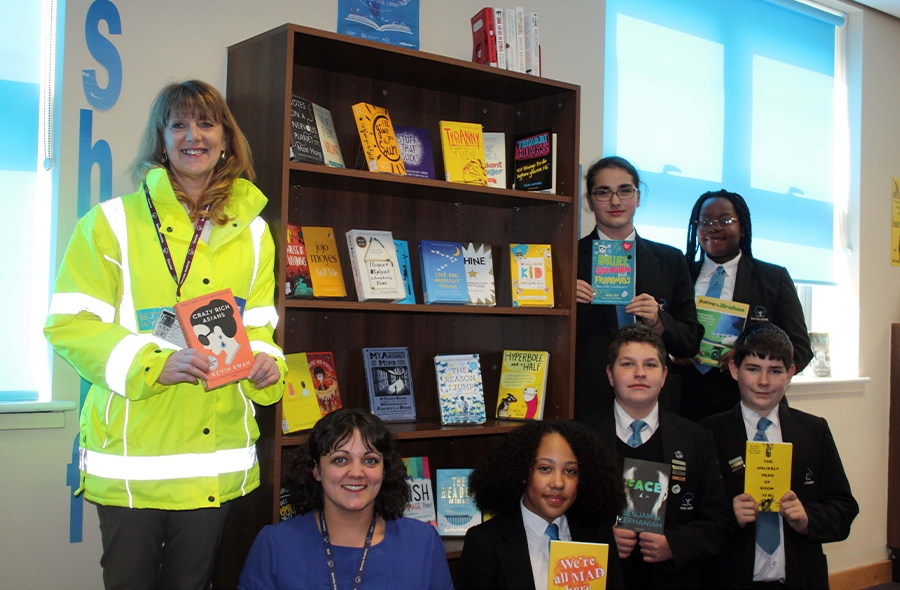 Left to right: Catherine Spooner with Barnsley Academy's Library Resource Manager Olivia Barnard and students Jasmine Dunning,  Karol Balcerski and Sam Parsons, and at the back, Karina Bryant and Faith Mapongah