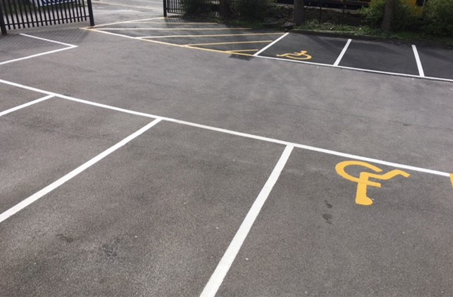 The car park's previously faded line markings made it difficult for people to park safely.