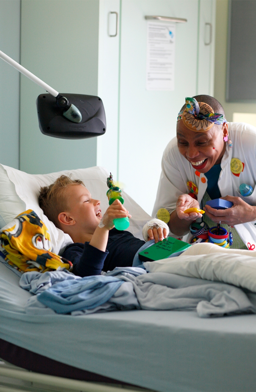 Theodora sends specialist trained performers, known as Giggle Doctors, to improve children's experience of hospitals, hospices and specialist care centres across the UK.