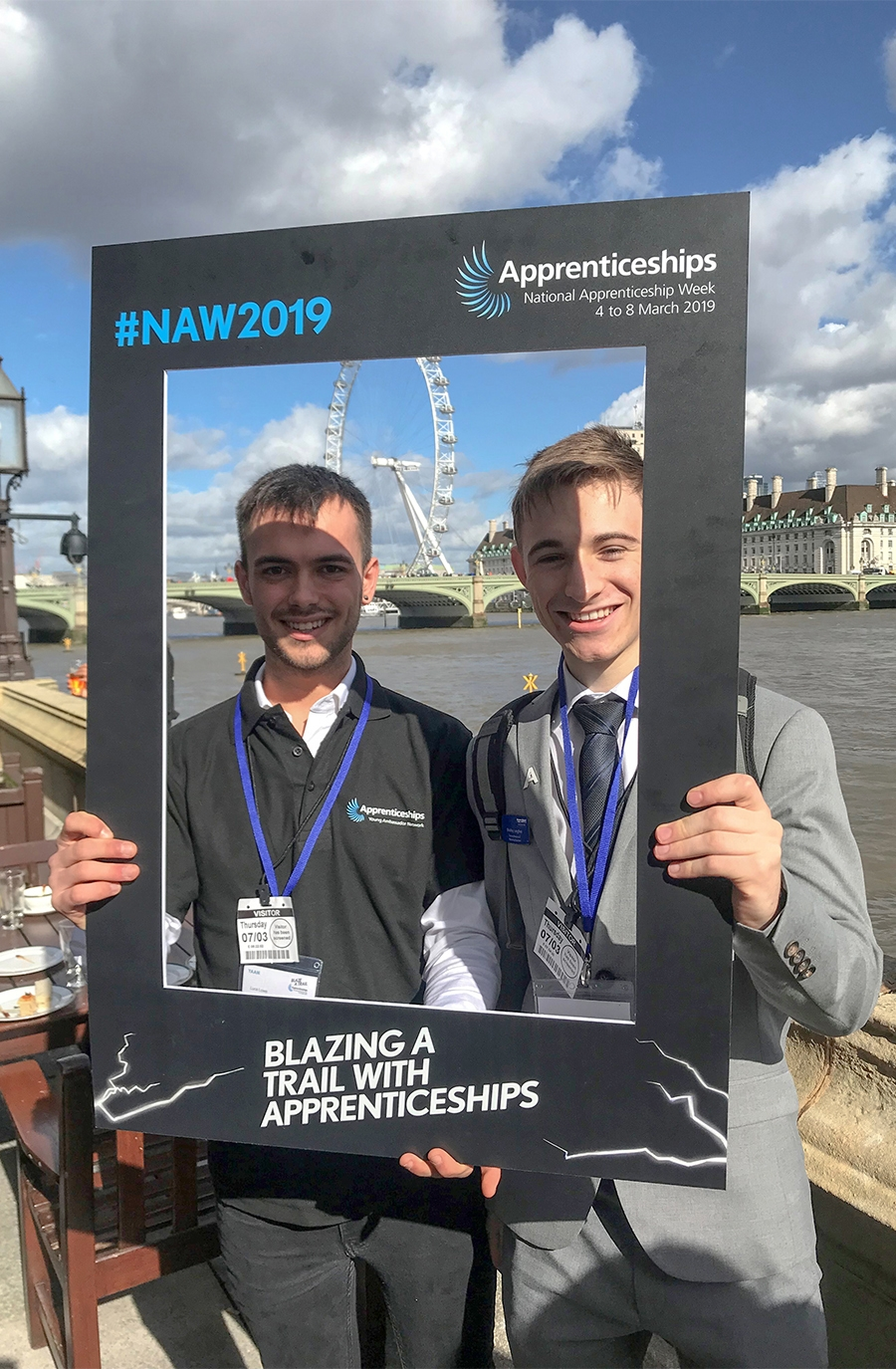 Bradley (right) and fellow ambassador Luca Lowe (left) at House of Commons celebrating National Apprenticeship Week and National Careers Week