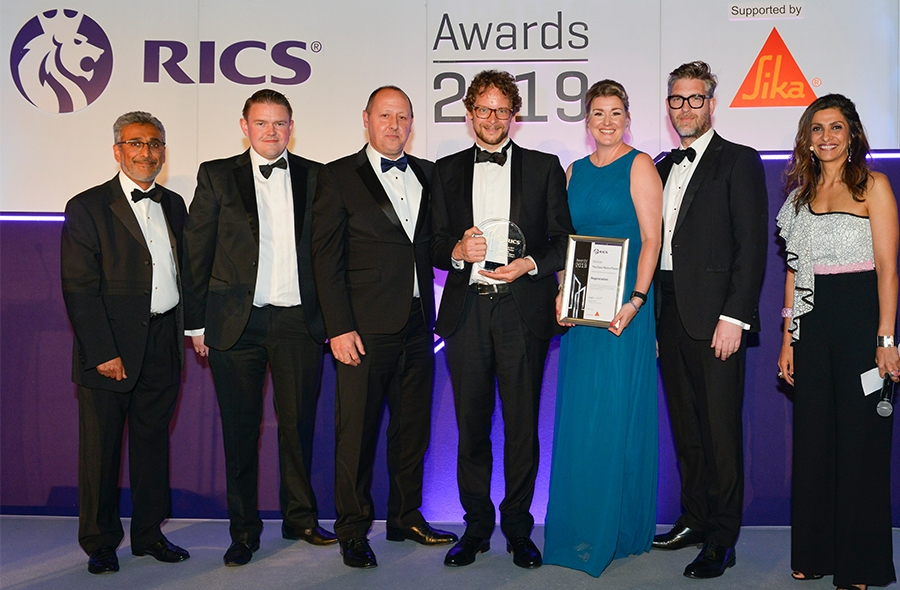 The Glass Works team collecting the Regeneration Award