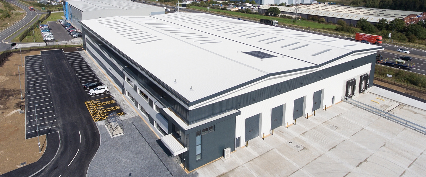 An aerial view of the new 55,000 sq. ft warehouse