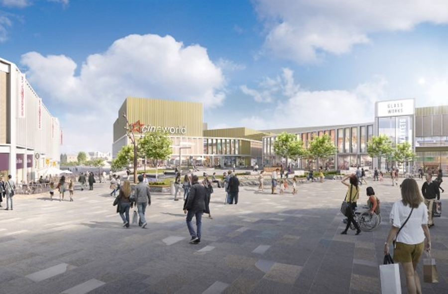Public Square CGI looking towards Cineworld as part of the Glass Works Phase 2